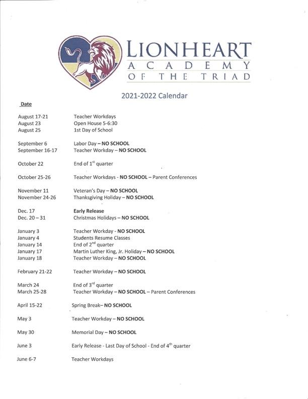 2021-2022 Lionheart School Calendar